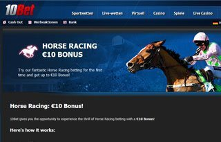 10 Euro Bonus für Pferdewetten bei 10bet