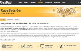 22.222 Euro Wettbonus von RaceBets zum Dubai World Cup zu gewinnen