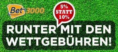 5% statt 10% Wettsteuer für Sportwetten bei bet3000