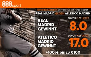 Neukundenangebot bei 888sport: Turbo-Quoten auf das Fußballspiel Real Madrid vs. Atletico