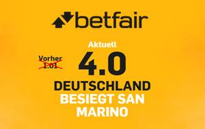 Ihr glaubt Deutschland besiegt San Marino? Dann gibt es bei Betfair eine Quote von 4.00