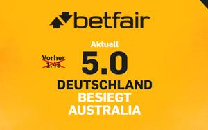 Erhöhte Quote bei Betfair zum Confed Cup Deutschland gegen Australien