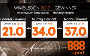 Spezialangebot mit Turbo-Quoten bei 888sport zum Wimbledon 2017
