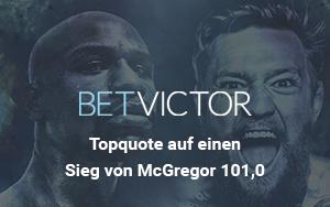 Von der BetVictor Topquote in Höhe von 101.0 auf einen Sieg von McGregor gegen Mayweather profitieren