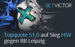 BetVictor mit erhöhter Quote für HSV im Spiel gegen RB Leipzig