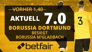 Von der erhöhten Quote in Höhe von 7.0 bei Betfair für das Spiel Dortmund vs. Mönchengladbach profitieren
