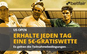 US Open Aktion bei Betfair: 5€ Gratiswette für jede 5. platzierte Wette