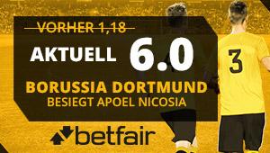 Die Neukunden von Betfair können mit besseren Quoten für Borussia rechnen