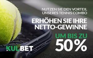 Mit dem Tennis Combo Booster von Kulbet bis zu 50% zusätzlich erhalten
