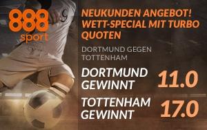Jetzt bei 888sport Turbo-Quoten für die Begegnung Dortmund – Tottenham erhalten