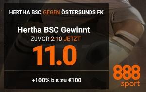 Neukunden-Angebot bei 888Sport mit 11.0er-Quote für Hertha-Sieg in der Europa-League