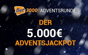 Mit der Bet3000 Adventsrunde an einer von vier Aktionen teilnehmen und 5.000€ Jackpot gewinnen