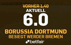 Bei Betfair gibt es die Quote 6.00 für einen Heimsieg von Borussia Dortmund