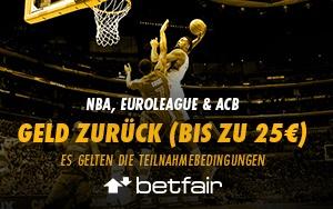 Geld-zurück-Garantie bei Betfair inklusive Gratiswetten bei Spielen der ACB, Euroleague und NBA