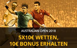 Betfair startet die Tennis-Saison mit einer 10 Euro Freiwette-Aktion zu AUSTRALIAN OPEN 2018