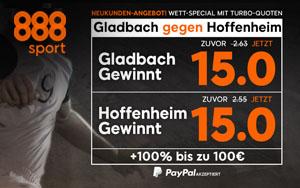 Wett-Spezial bei 888sport – Top Quoten für die Partie Borussia M'gladbach gegen Hoffenheim