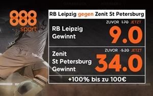 Wett-Spezial bei 888sport für alle Neukunden zum Achtelfinale der UEFA Euro League RB Leipzig gegen Zenit St. Petersburg