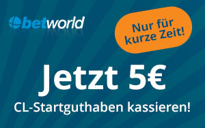 Betworld macht die Champions League noch genussvoller mit 5€ Stratguthaben gratis!
