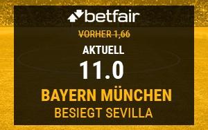 Bayern gegen Sevilla: Neukunden genießen bei Betfair verbesserte Quote