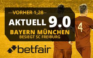 Von der großzügigen Quote von 9.0 für das Spiel Bayern bei Betfair – Freiburg profitieren