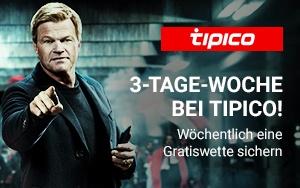 Die 3-Tage-Woche bei Tipico gibt Gratiswetten im Wert von bis zu 150 Euro