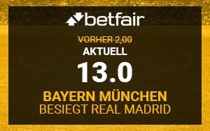 Betfair Angebot für Neukunden: Top-Quote für Bayern-Sieg gegen Real Madrid