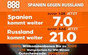 Top Quoten für Sie bei 888sport- Kommt Spanien oder Russland weiter?