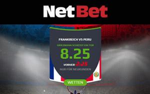 Bei NetBet verbesserte Quote für Griezmann schießt Tor bei Frankreich vs. Peru