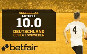 Betfair Neukundenangebot: 10.0 Quote auf deutschen Sieg gegen Schweden