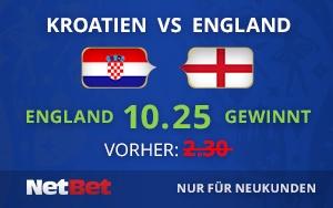 NetBet gibt England eine 10.25 Quote im WM Halbfinale