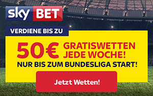 Skybet bietet zur neuen Bundesliga Saison Bonus bis zu 250€