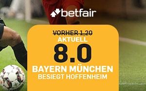Neukunden erhalten bei Betfair eine erhöhte Quote für das Spiel FC Bayern gegen Hoffenheim