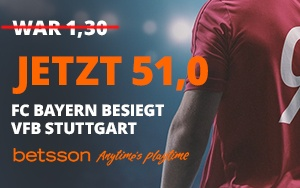 Bei Betsson mit der Neukunden Promotion eine erhöhte Quote von 51.0 auf einen Sieg von Bayern München erhalten