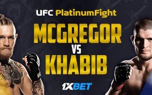 Luxus Preise und Bonuspunkte von 1xBet für UFC Platinum Fight von McGregor vs Khabib