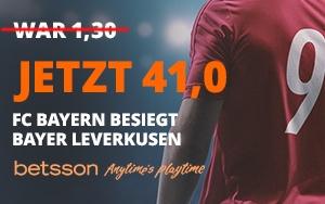 Nur bei Betsson: 41 Quote wenn FC Bayern gegen Bayer Leverkusen gewinnt!
