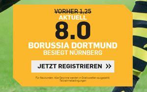 Jetzt bei Betfair Quote 8.00 für Sieg von Borussia Dortmund abstauben
