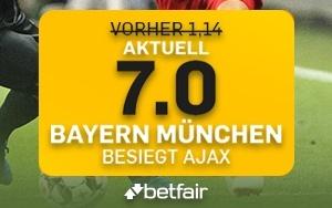 Betfair mit erhöhter Quote von 7.0 für Neukunden im Spiel Bayern vs. Ajax