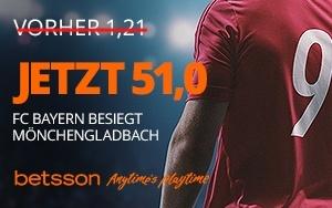 Jetzt bei Betsson Mega Boost – 51.00 Quote für einen Sieg der Bayern abstauben