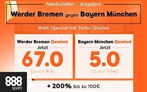 888sport Neukunden Bonus und verbesserte Quoten für das Spiel Werder Bremen gegen Bayern München