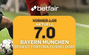 7.0 Quote bei Betfair wenn Bayern München Fortuna Düsseldorf besiegt