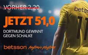 Mega-Quote bei Betsson für das Bundesligaspiel Schalke 04 – Borussia Dortmund