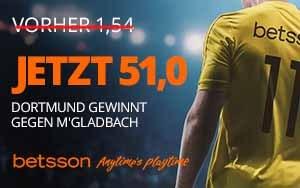 Neukunden profitieren bei Betsson von der erhöhten Quote von 51,0 für das Spiel Dortmund gegen M'gladbach