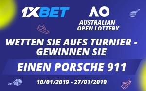 Während der Australian Open gibt es bei 1xBet einen Porsche zu gewinnen