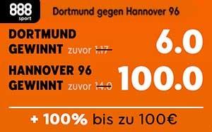 Erhöhte Quote für Hannover 96 gegen Dortmund jetzt bei 888sport