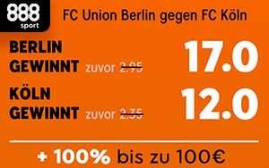 Exklusiv für Neukunden von 888sport: Top Quoten für das Match FC Union Berlin gegen FC Köln