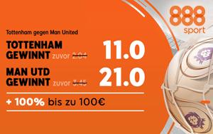 Bei 888sport gibt es extra hohe Quoten für das Spiel Tottenham vs Man United