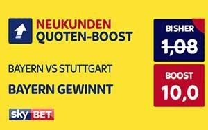 Neukunden-Angebot: Skybet erhöht die Quote auf Sieg Bayern gegen Stuttgart auf 10.0