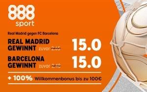 Jetzt bei 888sport Quote 15 auf Sieg Barcelona oder Madrid
