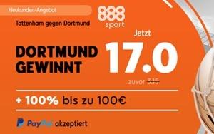 Verbesserte Quote für Tottenham gegen Dortmund bei 888sport