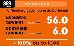 Erhöhte Wettquote für das Spiel FC Nürnberg gegen Dortmund bei 888sport